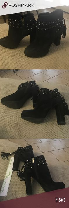 "Black Jessica Simpson studded tassel Suede boots Black Leather Suede Jessica Simpson 5"" studded with tassels excellent condition worn once Jessica Simpson Shoes Ankle Boots & Booties"