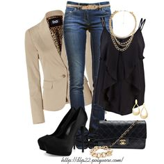 "Love this: Black and Beige which can be dressed up or down.  ""Black & Beige"" by dlp22 on Polyvore"