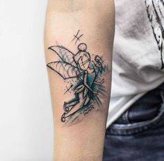 Sketch style teal-infused Tinker Bell tattoo by Kudu