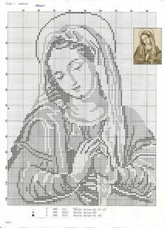 virgin mary, virgin of guadeloupe, cross stitch, filet crochet Cross Stitch Angels, Cross Stitch Tree, Cross Stitch Baby, Cross Stitching, Cross Stitch Embroidery, Embroidery Patterns, Religious Cross Stitch Patterns, Fillet Crochet, Christian Symbols