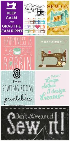 8 Free Sewing Room Printables for Wall Decor - cheap ways to decorate your craft room! Creative inspiration is the best.