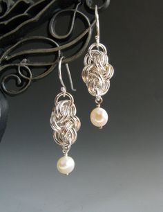 Double Cloud Cover Chainmail Earrings with Pearl. $30,00, via Etsy.