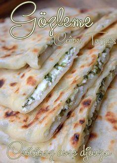 Gözleme, crêpes turques au fromage - The Best Simple Recipes Crepes, Iftar, Gozleme, Comida India, Vegetarian Recipes, Cooking Recipes, Good Food, Yummy Food, Ramadan Recipes