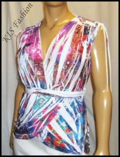 Unique Wrap Sublimation V Neck & V Back Top - Size M - New - Free Shipping