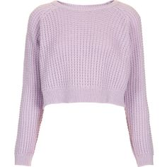TOPSHOP Fisherman Crop Sweater ($18) ❤ liked on Polyvore featuring tops, sweaters, shirts, jumpers, lilac, lilac sweater, topshop shirt, pink crop top, lilac shirt and pink jumper