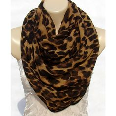 Fashion classic Brown Leopard Print Scarf, large size chiffon scarf,... ($21) ❤ liked on Polyvore