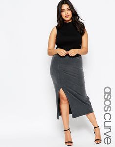 ASOS CURVE Midi Pencil Skirt In Acid Wash With Thigh Split
