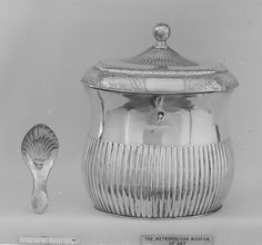 Sheffield plated tea caddy and spoon, British, 1790-1800.