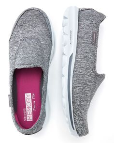 Stride in comfort and style thanks to these wide-width Skechers shoes. Designed for walking, they feature a comfortable Memory Foam insole, flexible rubber outsole, as well as a soft top fabric. #Penningtons $80.00