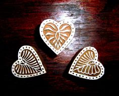 Set of Hearts Hand Carved Wood Stamp Indian by PrintBlockStamps, $12.00