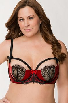 10 Steamy Plus-Size Lingerie Styles For February 14  Beyond #refinery29 - Lane Bryant Satin  Lace strap French balconette bra, $42, available at Lane Bryant.  http://www.refinery29.com/plus-size-lingerie#slide1