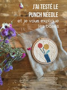 J'ai testé le punch needle – Explications pour vous lancer ! Dmc Natura Xl, Julie Robert, Broderie Simple, Punch Needle Patterns, Diy Tote Bag, Hand Tufted Rugs, Rug Hooking, Needlepoint, Hand Embroidery