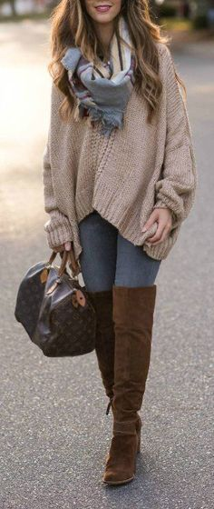 Chunky Oversized Sweater + Brown OTK Boots | how to style an oversized sweater | oversized sweater style tips | how to wear OTK boots | OTK boot style tips | winter style | winter fashion | style ideas for winter || The Girl in the Yellow Dress #winterstyle #oversizedsweater #OTKboots #winterfashion