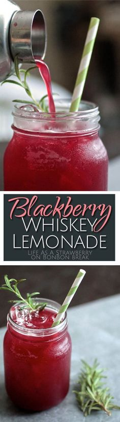 Easy to make, super refreshing, and packed with summer flavor. This sweet, tart blackberry lemonade gets all grown up with a splash of whiskey and a sprig of rosemary.