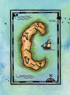 READYTOSHIP Alphabet Treasure Map / Letter C by paintandink, $150.00