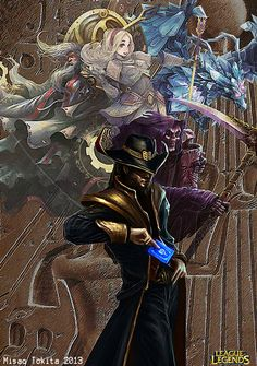 League of Legends art - Twisted Fate, Karthus, Lux, Anivia, and Zilean.