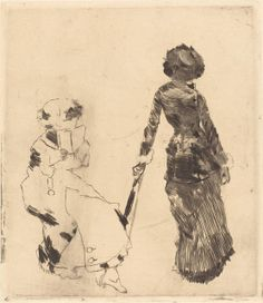Edgar Degas,  Mary Cassatt at the Louvre: The Etruscan Gallery (Au Louvre: Musée des antiques), 1879/1880 -  Etching and drypoint in black on laid paper