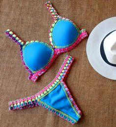 305f5af540e4 Biquíni Summer Neon Crochê com Bojo Verdades Secretas Verão 2020 | Moda  Praia Feminina Atelie Izielle