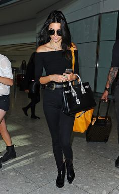 6/27/15 - Kendall Jenner at Heathrow Airport.