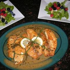 Lemon Piccata Whitefish Allrecipes.com--We caught some trout yesterday and cooked it up using this recipe and it was so yummy!  I used chicken broth instead of the white wine