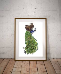Items similar to Angry Peacock - Print on Etsy Peacock Print, Moose Art, Digital Art, Art Prints, Artist, Painting, Etsy, Animals, Art Impressions