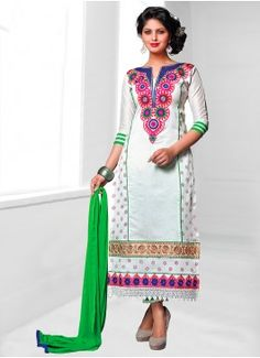 Refreshing White & Green Coloured Unstitched #BuypartywearsalwarsuitsonlineIndia