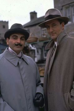 I've fallen in love with Hercule Poirot (here with Captain Hastings). The art deco details in this show are unbelievably beautiful.