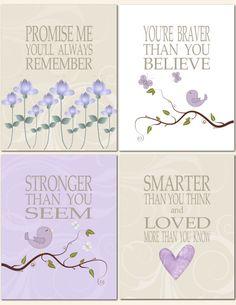 Promise Me You'll Always Remember in Purple and Beige - Nursery Art Baby Nursery Girl Kids Wall Art Lavender by vtdesigns, $40.00