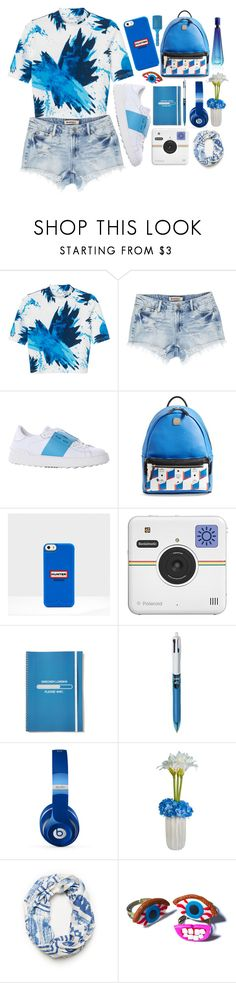 """Blue #2"" by askhaerunisa ❤ liked on Polyvore featuring Monki, Valentino, MCM, Hunter, Polaroid, Beats by Dr. Dre, Laura Cole, Wicked Hippie, Davidoff and croptops"