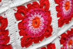 Colorful crochet Jip by Jan Pillow case Granny squares
