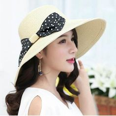 Beige wide brim straw hats womens polka dot bow wide brimmed hat for sun  protection 5cb9435611ee