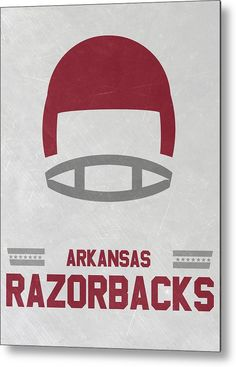 Razorbacks Metal Print featuring the mixed media Arkansas Razorbacks Vintage…