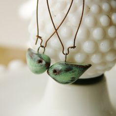 Little Bird Ceramic Earrings Rustic Aqua Mist by BackBayPottery