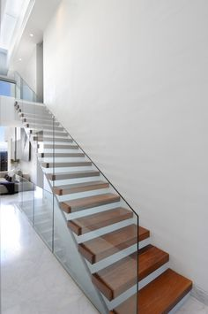 Modern Stairs // wood and glass stairs at the Camarines House by A-cero Cantilever Stairs, Modern Stair Railing, Staircase Railings, Modern Stairs, Staircase Design, Stairways, Stair Design, Staircase Remodel, Staircase Ideas