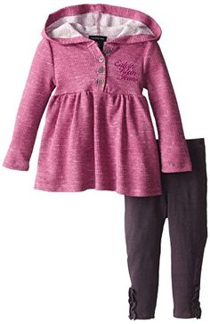 Calvin Klein Baby-Girls Infant Hooded Tunic with Leggings, Purple, 12 Months