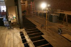 New joists are secured in place. Next step is the sub-flooring then to pour a new concrete floor