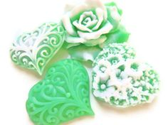 St. Patrick's Day SOAP, Luck of the Irish, Rose and Heart Gift Set, Scented in Green Clover and Lemon Grass, Vegtable Based, Handmade. $10.00, via Etsy.