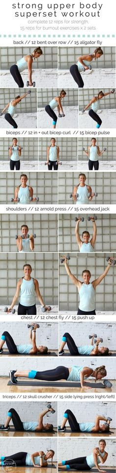 strong upper body superset workout. back, biceps, shoulders, chest, and triceps. perfect to strengthen and tone your upper body | www.nourishmovelove.com