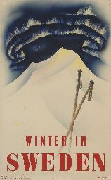 vintage ski poster - WINTER IN SWEDEN lithograph in colours, 1935