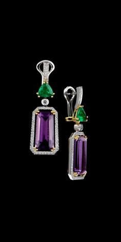 Master Exclusive Amethyst Jewellery - Коллекция - Solo Yellow and White Gold 750, Amethyst 16,56 ct, Emerald 2,02ct and Diamonds Earrings