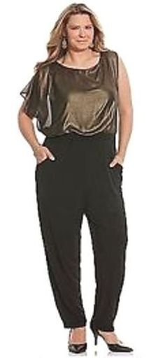 7e862126457  100 NWT Lane Bryant Catsuit BLACK n BRONZE LAME  JUMPSUIT 3x 4x PLUS SIZE  26 28  fashion  clothing  shoes  accessories  womensclothing   jumpsuitsrompers ...