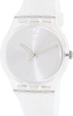 Swatch Mirrormellow Shimmer Silver Glitter Dial Transparent Silicone Ladies Watch SUOK112 *** Click image to review more details.