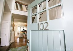 door color: House of Turquoise. Front door in Ben moore's Wythe Blue. House Nos. from Home Depot. House Numbers, House, Home, Front Door Paint Colors, Painted Doors, Beautiful Front Doors, Parade Of Homes, House Tours, Wythe Blue