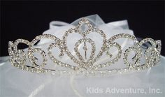 First Communion Tiara Veil with Bow - White