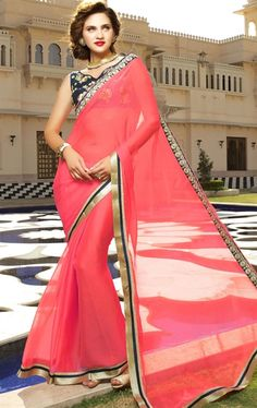 Picture of Dazzling Pink Saree with Designer Blouse Piece