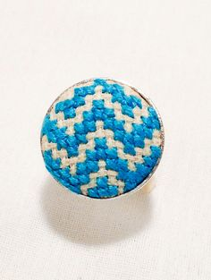 Turquoise Chevron Ring Cross Stitch by SynapsetoSynapse on Etsy, $10.00