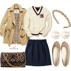 """""""Preppy and cool School Outfit"""" by natihasi on Pol Preppy Outfits For School, College Outfits, Classy Outfits, Outfits For Teens, Fall Outfits, Preppy College Outfit, Preppy Girl Outfits, Preppy Wardrobe, Casual Outfits"""