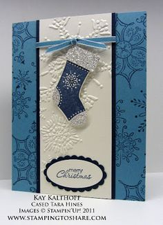 handmade Christmas card from Stamping to Share ... blue and white ... Stocking Builder Punch focal image ... Stampin' Up!
