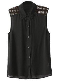 Black Vest With Shoulder Stud | Choies