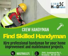 Find Or Advertise Handyman services Brampton- Crew Handyman Ceiling Crown Molding, Drywall Repair, Wood Vinyl, Furniture Assembly, Home Improvement, Advertising, Home Improvements, Interior Design, Home Improvement Projects